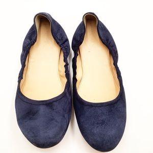 {J.Crew} Navy Leather Ballet Flats